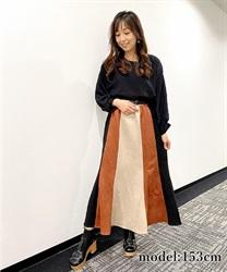 【10%OFF対象】スエードボンディング配色スカート