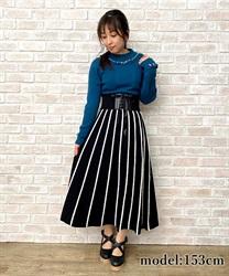 【10%OFF対象】ファーストライプニットスカート