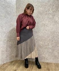 【10%OFF対象】パネル柄プリーツニットスカート