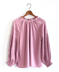 バックリボン袖プリーツプルオーバー(淡ピンク-M)