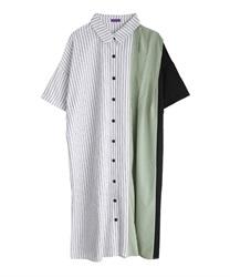 アシメ配色ビッグシャツワンピース(生成り-M)