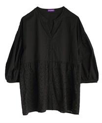 コットン刺繍切替シャツ(黒-M)