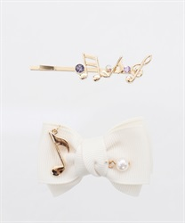 【OUTLET】(キッズ)音符付リボンクリップSET(生成り-M)