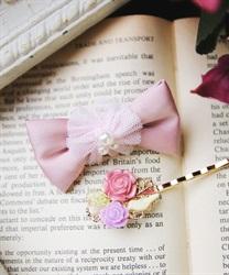 (キッズ)お花×リボンヘアアクセSET(淡ピンク-M)
