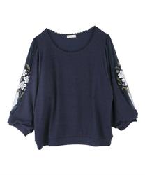 7分袖花刺繍プルオーバー(紺-M)