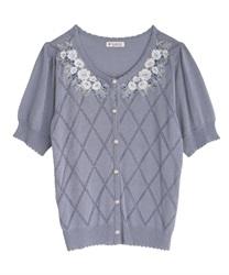 花刺繍半袖ニットカーディガン(ブルー-M)
