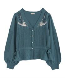 【OUTLET】パルティシオン刺繍カーディガン【Web価格】(グリーン-M)