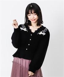 【OUTLET】パルティシオン刺繍カーディガン【Web価格】(黒-M)