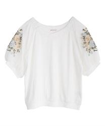 花刺繍×チュール袖プルオーバー(生成り-M)
