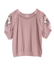 花刺繍×チュール袖プルオーバー(淡ピンク-M)