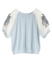 花刺繍×チュール袖プルオーバー(サックス-M)