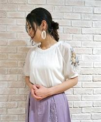 花刺繍×チュール袖プルオーバー