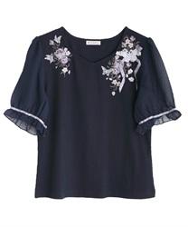 パピヨンフルール刺繍プルオーバー【Web限定商品】(紺-M)