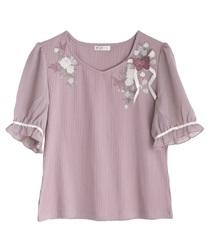 パピヨンフルール刺繍プルオーバー【Web限定商品】(ラベンダー-M)