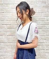 袖花刺繍リブプルオーバー(白-M)