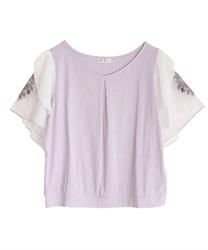 袖花刺繍リブプルオーバー(ラベンダー-M)