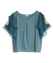 袖花刺繍リブプルオーバー(ブルーグリーン-M)