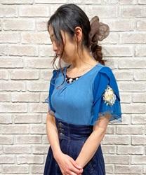 袖花刺繍リブプルオーバー