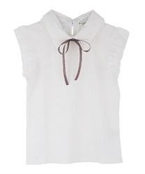 【web価格/15H限定】繊細刺繍二枚襟ノースリプルオーバー(白-M)