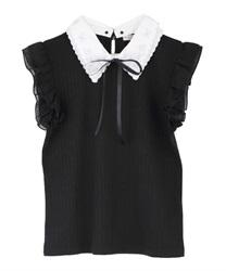 【web価格/15H限定】繊細刺繍二枚襟ノースリプルオーバー(黒-M)