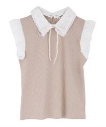【web価格/15H限定】繊細刺繍二枚襟ノースリプルオーバー(モカ-M)