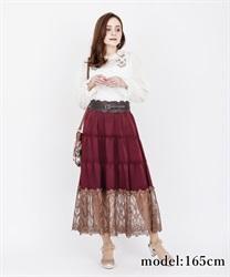 【OUTLET】【GWフェア/2点10%OFF対象】【GWフェア/Web価格】裾レースティアードスカート(ワイン-M)