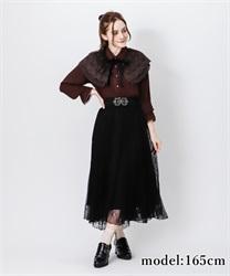 【OUTLET】【GWフェア/2点10%OFF対象】レーシーロングスカート(黒-M)