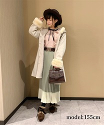 【OUTLET】バイカラープリーツスカート