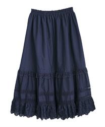 コットンフレアロングスカート(紺-M)
