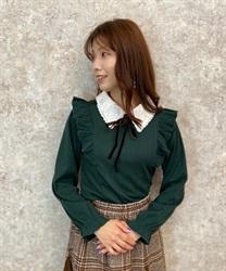 ブーケ刺繍二枚襟リブプルオーバー