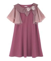 【OUTLET】リボン襟カットチュニック(濃ピンク-M)