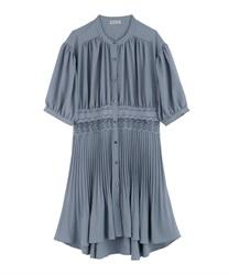 【OUTLET】ウエストレースプリーツシャツ(サックス-M)