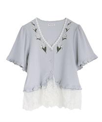 すずらん刺繍裾レースボレロ(サックス-M)