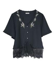 すずらん刺繍裾レースボレロ(紺-M)