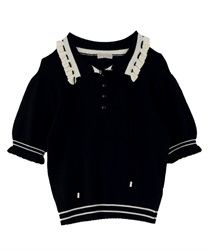【OUTLET】バイカラーニットポロ(黒-M)