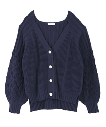 透かし袖ルーズカーディガン(紺-M)