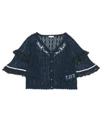 透かし編みフレア袖ニットカーディガン(紺-M)