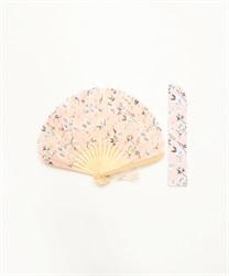 【均一価格/WEB限定】フラワープリント扇子(淡ピンク-M)
