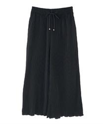 カット素材プリーツパンツ(黒-M)