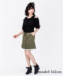 【OUTLET】アソートボタンミニスカート【Web価格】(カーキ-M)