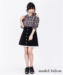 【OUTLET】アソートボタンミニスカート【Web価格】(黒-M)