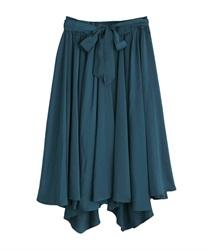 サテンイレヘムスカート(ブルーグリーン-M)