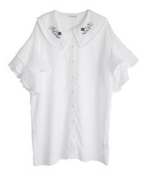 【web価格/15H限定】刺繍襟チュニックブラウス(白-M)