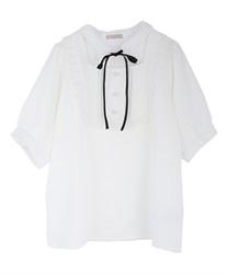 チョーカーデザイン半袖ブラウス(生成り-M)