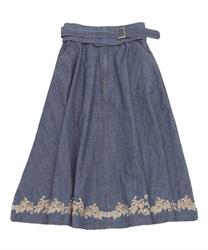 ベルト付きデニム刺繍スカート(インディゴ-M)