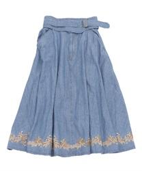 ベルト付きデニム刺繍スカート(ウォッシュ-M)