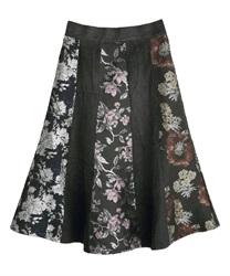 パッチワーク風スカート(黒-M)