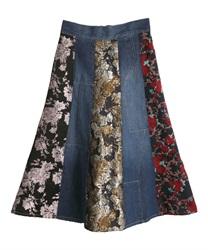 パッチワーク風スカート(ウォッシュ-M)