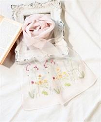 ボタニカル柄刺繍入りストール(淡ピンク-M)