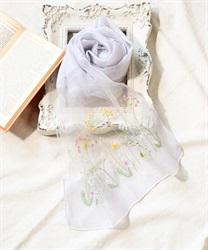 ボタニカル柄刺繍入りストール(グレー-M)